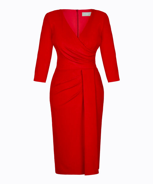 Red wrap dress nigella bombshell