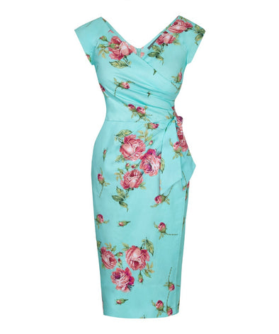 Confident Portobello Roses Cap Sleeve Dress  Pink Aqua Turquoise