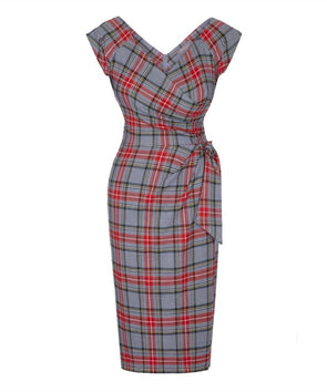 Bombshell Grey Red Tartan Cap Sleeve Dress Wedding Event Party Cocktail Ball