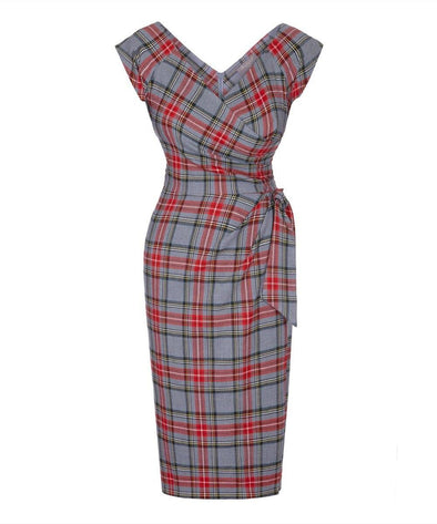 Grey Tartan Bombshell Cap Sleeve Dress