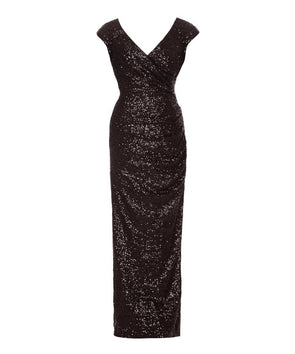 Cap Sleeve Black Sequin Gown
