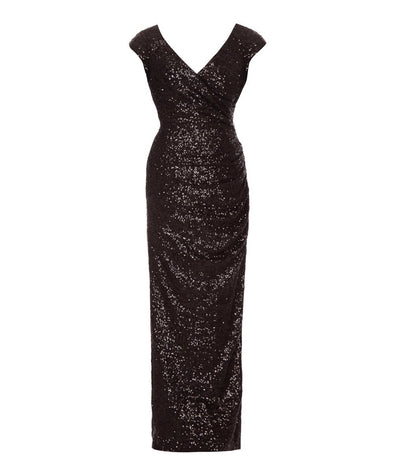 Cap Sleeve Black Sequin Gown Evening Cocktail Ball Wedding Party Mother of the Bride