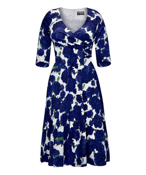 Bombshell dress Bombshell London Fit and Flare Navy and Cream Roses
