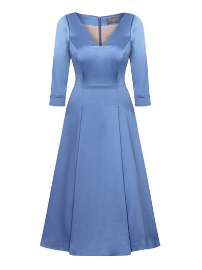 Bombshell 'Elegance' Dress in Soft Matt Heron Stretch Satin Mother of the Bride Wedding Guest