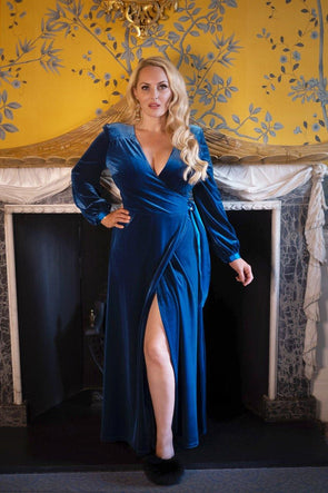 Luxury Velvet Bombshell Robe in Dark Turquoise
