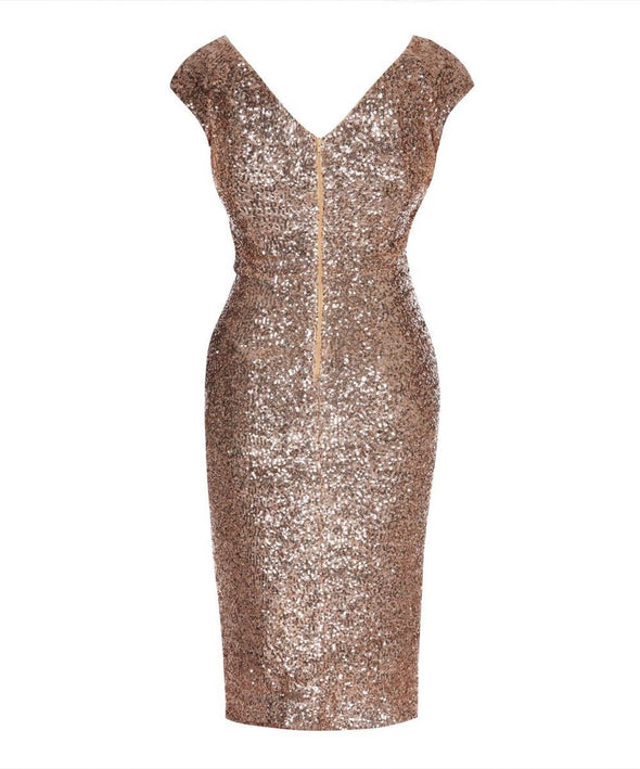 The Ultimate Cap Sleeve Rose Gold Sequin Bombshell Cocktail Dress