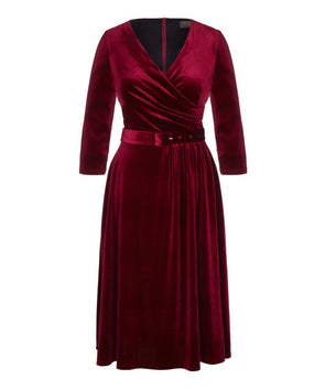 'Stretch Luxe' Flare Bombshell 3/4 Sleeve Jersey Dress Wine