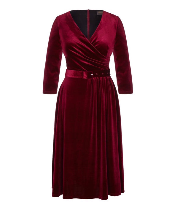 Wine Stretch Luxe Flare Jersey Dress