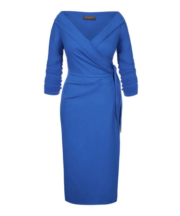 Bright Blue Jersey Bombshell 'The Feel Good' Edge Of The Shoulder Wrap Dress 3/4 Sleeve