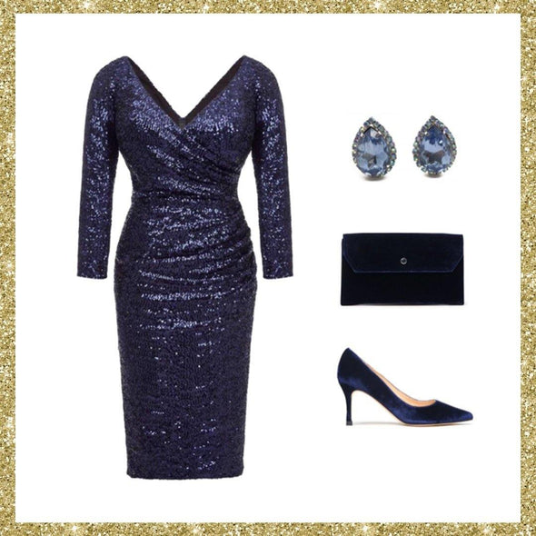 Midnight Blue Bombshell Sequin Cocktail Dress