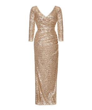 Gold Sequin Evening Gown Summer Ball Evening Party Cocktail Dress Mother of the Bride Summer Ball