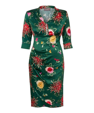 Chrysanthemums Dark Green Tea Dress