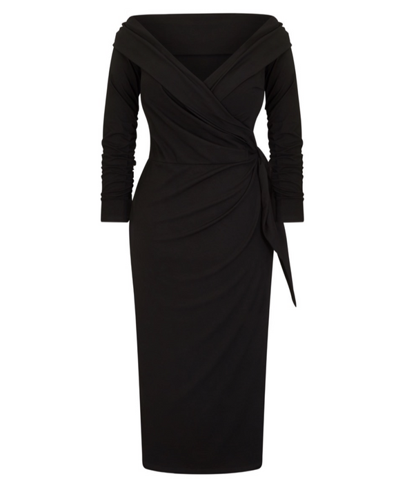 NOW IN 'The Feel Good' Edge of the Shoulder Black Bombshell Luxury Jersey Wrap Dress with 3/4 Sleeves