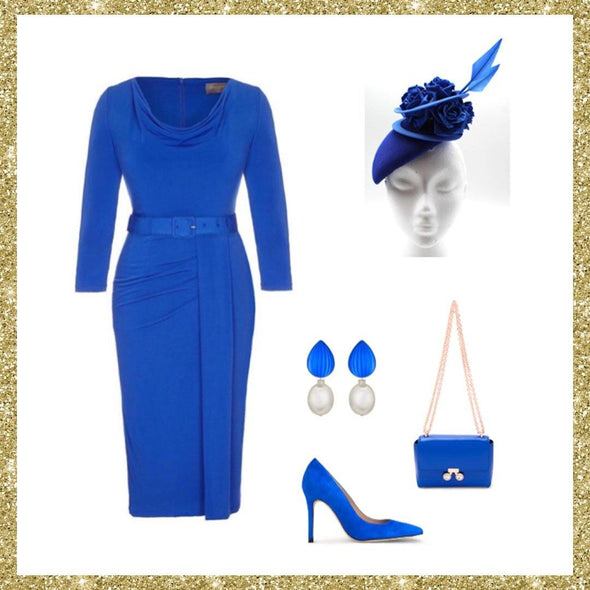 Bright Blue 3/4 Sleeve Stretch Luxe Scoop Neck Dress