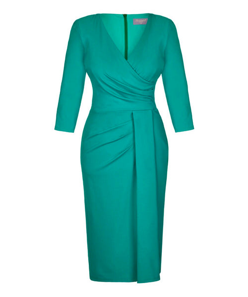 NEW 'Stretch Luxe' Bombshell 3/4 Sleeve Jersey Dress Bright Sea Green