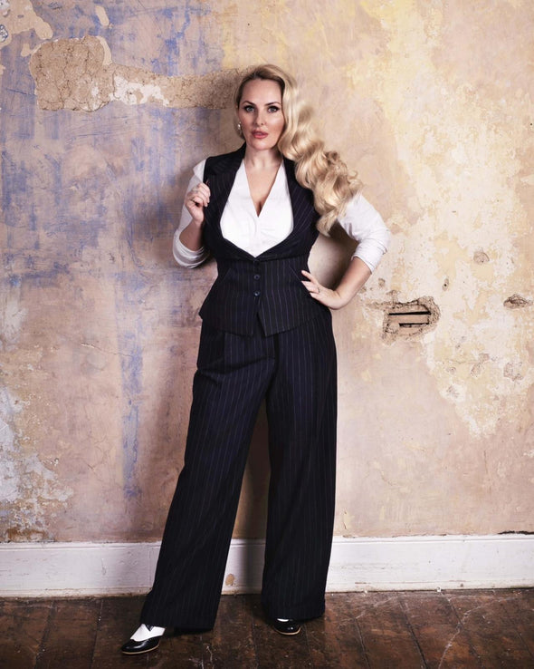 Wide Leg Trousers in Navy Pinstripe