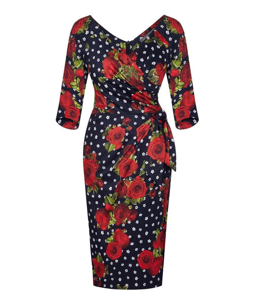 floral wrap sarong dress with sleeves wedding guest dress dresses for weddings mother of the bride dress ascot dress past the knee 3/4 sleeve dress