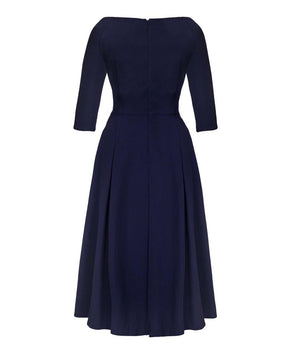 Edge of the Shoulder Midi Bombshell Dress in Navy