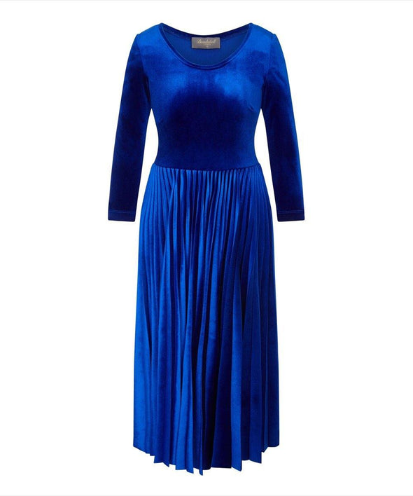 Bombshell Sapphire Velvet Pleated Midi Dress Blue Evening Warm Comfy Event Stylish