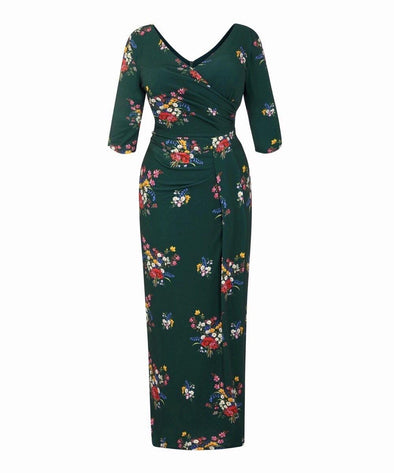 Dark Green Wild at Heart Stretch Luxe Bombshell 3/4 Sleeve Maxi Dress