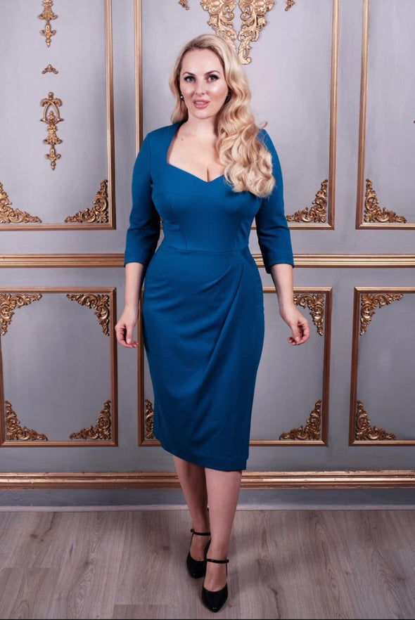 Bombshell Sweetheart Ponte Jersey Bright Teal Dress