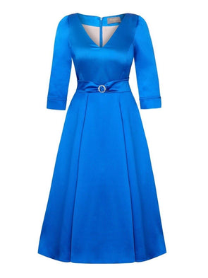 Bombshell 'Elegance' Dress in Soft Matt Sapphire Blue Stretch Satin Mother of the Bridge Wedding Guest
