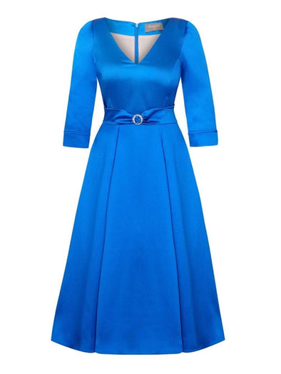 Bombshell 'Elegance' Dress in Soft Matt Sapphire Blue Stretch Satin | Mother of the Bridge Wedding Guest