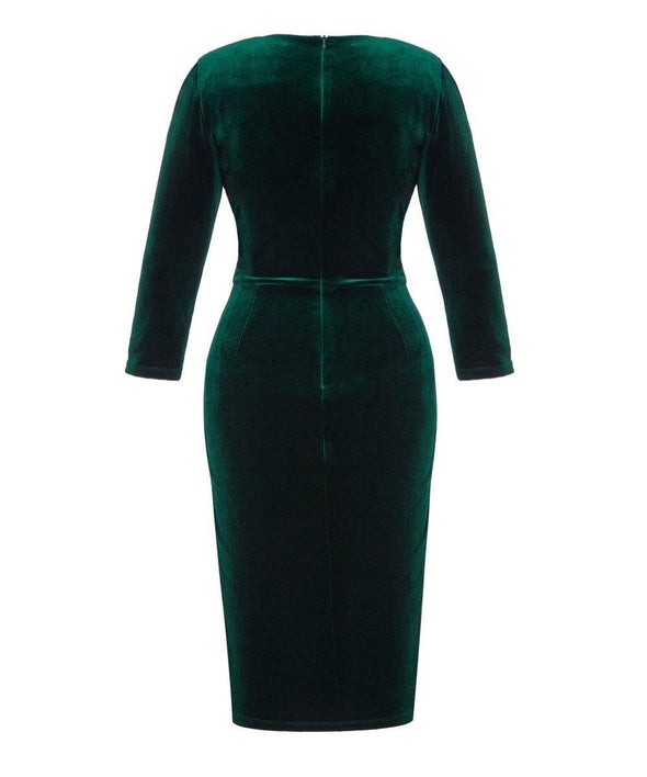 3/4 Sleeve Dark Green Velvet Jersey Dress