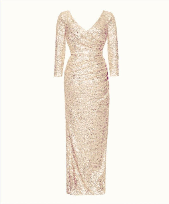 The Ultimate Bombshell Light Gold Sequin Gown