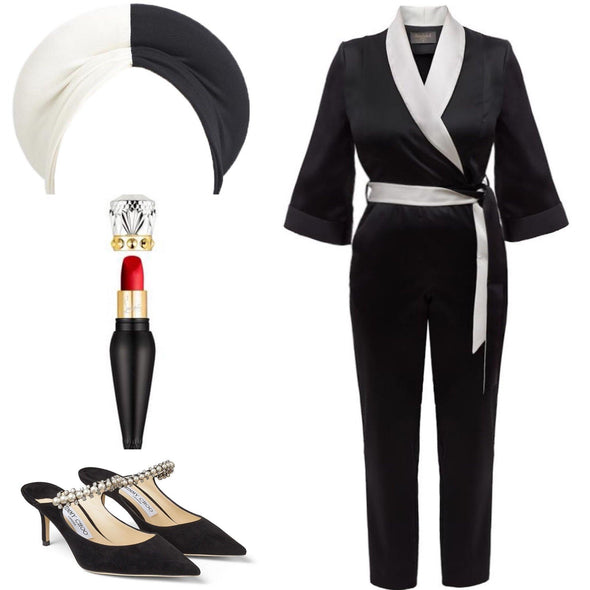 NOW IN Black Bombshell Jumpsuit with Pale Ivory Collar - Ankle Grazer