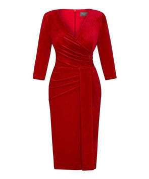 Bright Red 'Stretch Luxe' Bombshell 3/4 Sleeve Velvet Dress