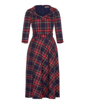 Midnight Tartan Bombshell Scoop Neck Elliptical Midi Skirt Dress
