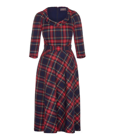 Midnight Tartan Bombshell Scoop Neck Elliptical Midi Dress
