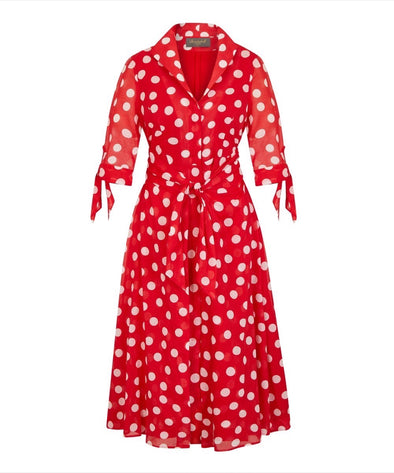 NOW IN Red Big Dot Voile Grace Tie Front Shirt Dress