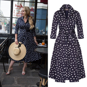 BEST SELLER BACK IN STOCK Bombshell Navy Polka Dot Grace Tie Front Shirt Dress