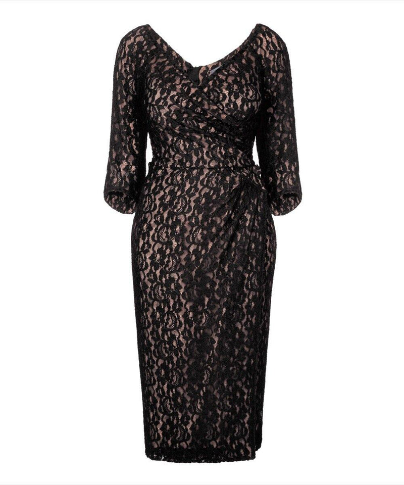 Nigella Red wrap wedding guest dress bombshell black lace