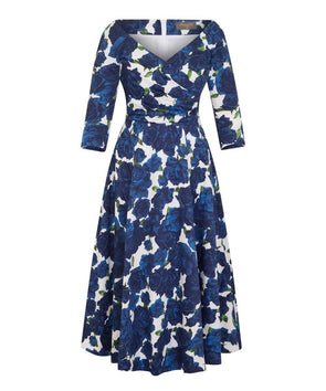 Navy Roses Bombshell 'Edge Of The Shoulder' Midi Dress