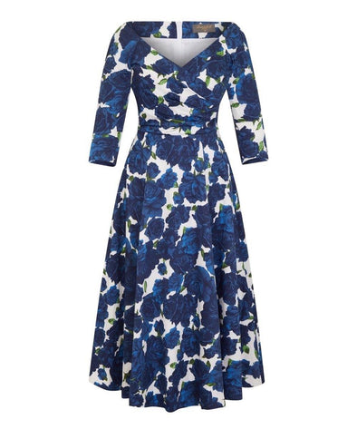 NOW IN - Edge of the Shoulder Midi Bombshell Dress in Navy Roses Print