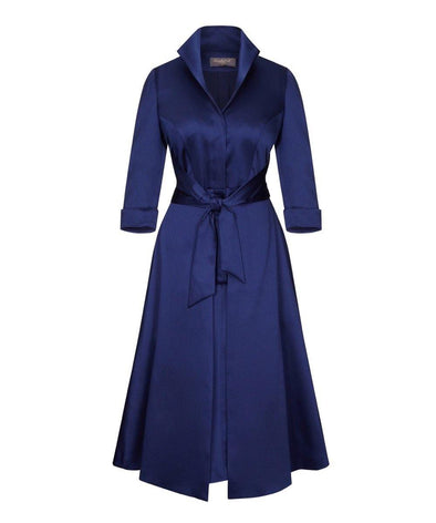 Navy Soft Matt Stretch Satin Grace Tie Front Bombshell Dress Mother of the Bride Wedding Guest