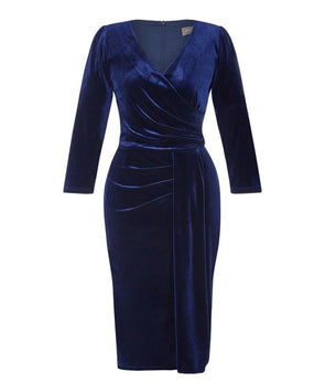 3/4 Sleeve Navy Velvet Dress
