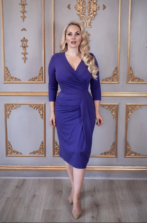 Bombshell Purple Jersey Stretch Luxe Dress 3/4 Sleeve