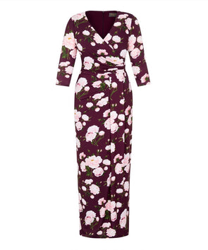 Wine Peony Stretch Luxe Bombshell 3/4 Sleeve Maxi Dress