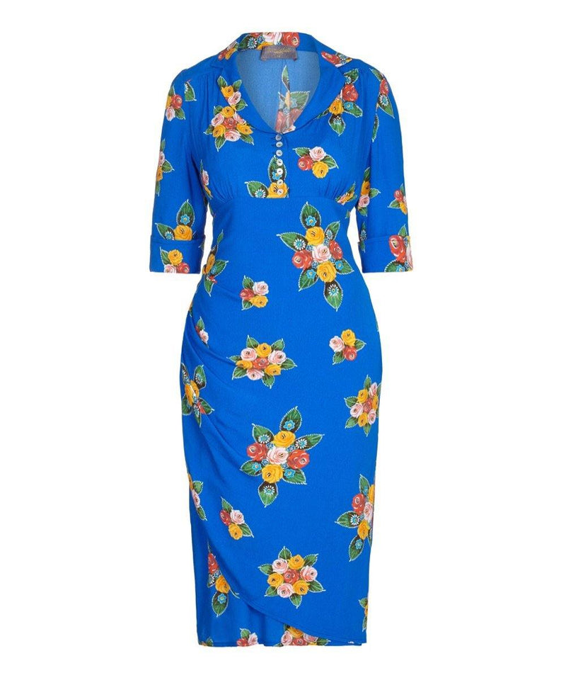 Blue Canal Roses Bombshell Tea Dress