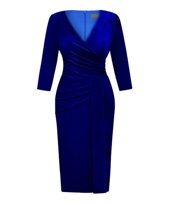 Bright Blue Velvet Bombshell 3/4 Sleeve 'Stretch Luxe' Dress
