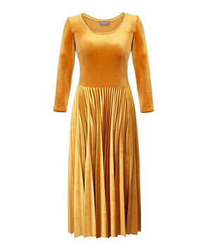 Now In Gold Ocre Pleated Midi Bombshell Dress