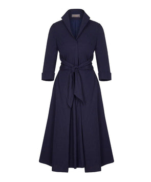 Navy Grace Tie Front Shirt Dress