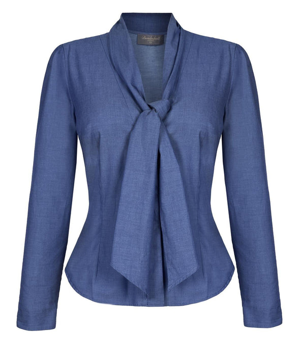 Detachable Scarf Hourglass Blouse in Denim - Bombshell London