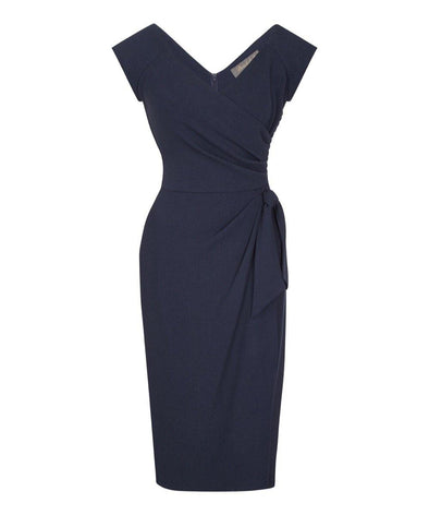 Navy Bombshell Cap Sleeve Confident Dress