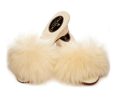 FooFoo for Bombshell Cream Fluffy Sheepskin Luxury Mules
