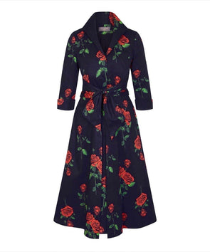 Cliveden Roses Black and Red Grace Tie Front Shirt Dress